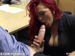 Gorgeous red haired boss is testing her new employee, to see what he knows to do